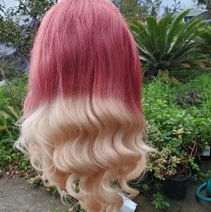 New [Custom Dyed] Curly Lace Front ombre red Wig